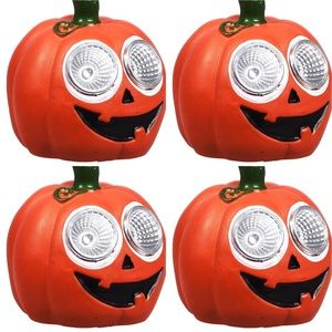 4 pumpkin 🎃 jack-o-lantern solar lights cement